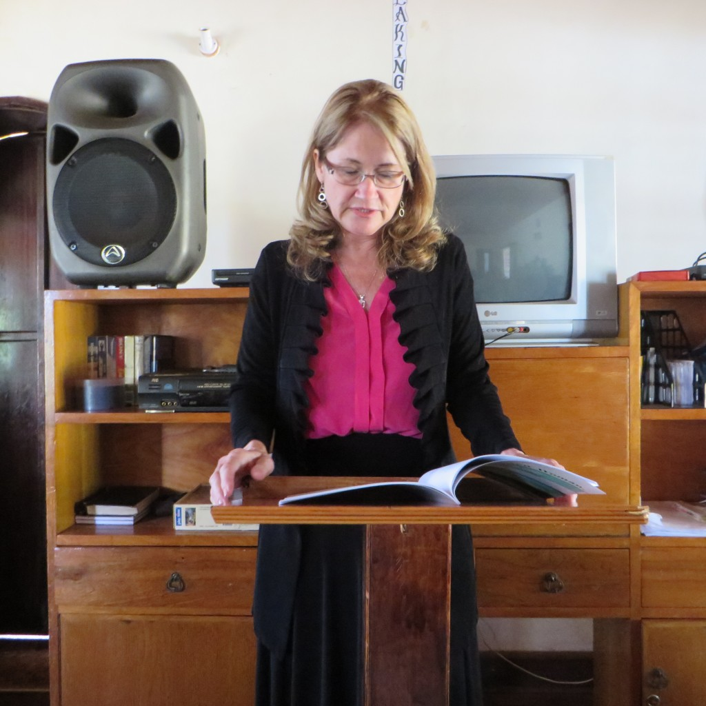 Carrie preaching at Teen Challenge in Africa