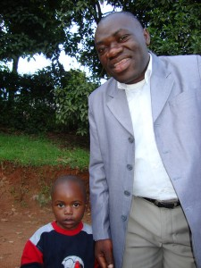 Congolese student with his son
