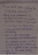 Participants make commitments about how they will apply what they've learned.